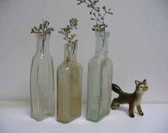 Antique Trio of Glass Apothecary or Medicine Bottles