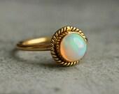 Proposal ring - 14K Gold Opal ring - Natural Opal Ring - Engagement ring - Artisan ring - October birthstone - Bezel ring - Gift for her
