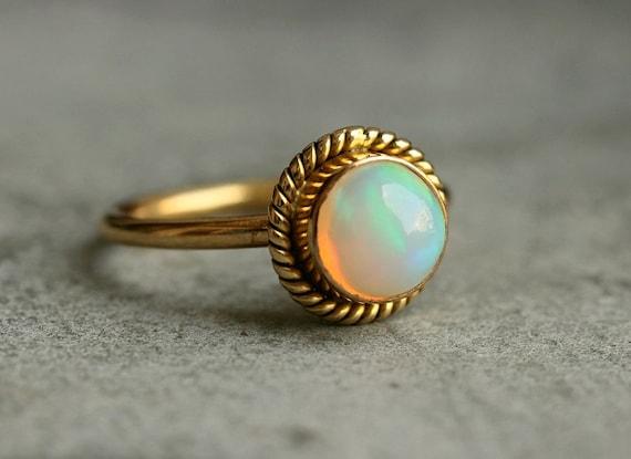 Proposal ring 14K Gold Opal ring Natural Opal Ring