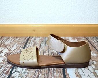 Leather Sandals Women - Size 9 Sandals - Light Brown Sandals