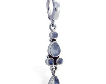 Sterling Silver 5 Moonstone Drop Charm Belly Button Ring By TummyToys (69107)