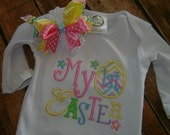 Easter infant gown with matching headband with Bow