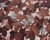 """Stunning All Over Leaves - Vintage Fabric 50s 35"""" wide New Old Stock Brown Grey"""