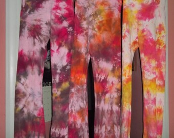 Hand Dyed Yoga Pants available in sizes XS to XL- fits adults and teens