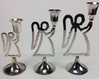 vintage silver plated candle holder angels set of 3 metal angels made in India