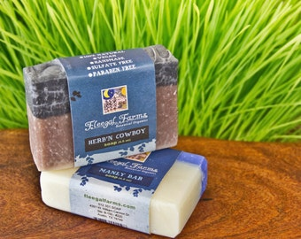 A Man's Man. Two bars of soap for your man in all natural earthy combinations. Ready to ship. Gifts for Dads and Grads.
