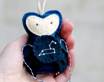 LEO Constellation Zodiac Ornament. Felt Owl Ornament. Unique Hostess Gift.