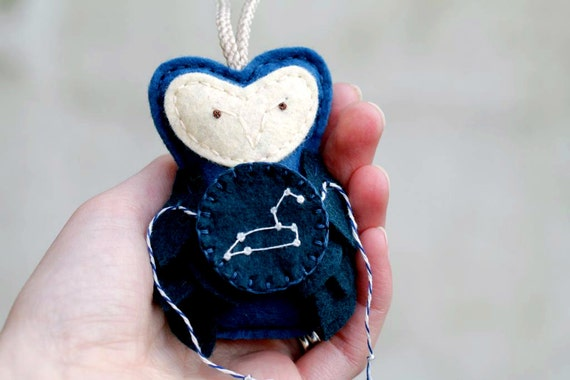 LEO Constellation Felt Owl Ornament, Unique Embroidered Starry Night Plush Owl Galaxy Christmas Ornament for Kids by OrdinaryMommy
