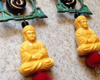 Yellow Buddha Asian Princess Pagoda Earrings