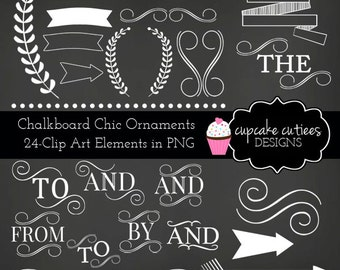 ChalkBoard Chic Ornament Set  Digital Clipart Elements Commercial use for paper, invites InStAnT DoWnLoAd