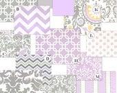 Purple and Gray Custom Crib Bedding, Wisteria Blooms