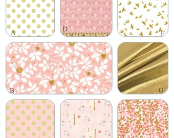 Blush Pink, White and Gold Metallic Custom Crib Bedding Set - The Kathryn Collection