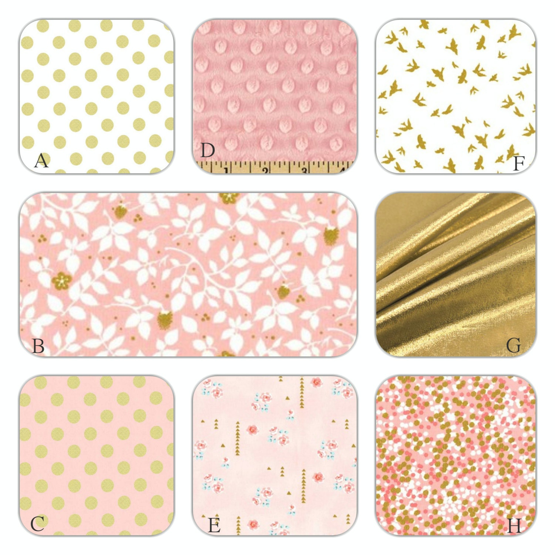blush pink white and gold metallic custom crib bedding set. Black Bedroom Furniture Sets. Home Design Ideas