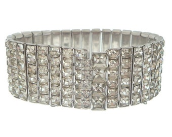 French Rhinestone Bracelet, Wide Vintage Cuff, 1950 Albert Weiss Designer Jewelry, Wedding Bracelets