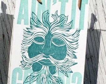 Green Man Postcard: Ain't It Green?