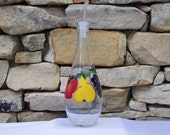 Hand Painted Bottle with Apple, Pear and Grapes and Free Flowing Spout