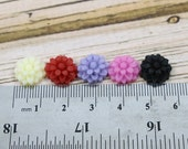 CLOSEOUT BULK LOT - Fifty (50) 10mm Dahlia Mini Resin Floral Flower Cabochons - Red, Pink, Purple, Black, White