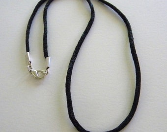 20 inch Black Satin Cord Necklace with 12mm Silver Plated Lobster Clasp