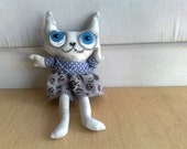 Featured on stuffed magazine spring 2015 cover -Hand painted art doll - casey the loving cat(made to order)