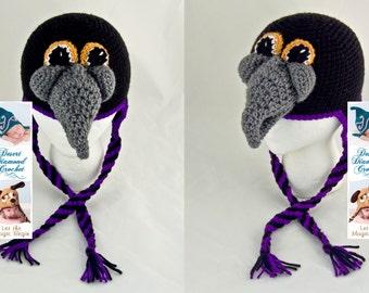 Crochet Pattern 090 - Raven Earflap Beanie Hat - All Sizes