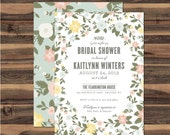 Floral Bridal Shower Invitation, Spring wedding shower invite - DIY printable party invite