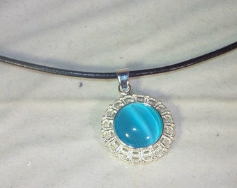 GENUINE GEMSTONE JEWELRY - Light Blue Cats Eye Cabochon -  Leather Cord Necklace