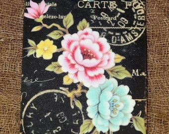 French Floral Postcard Tags #112