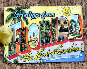Greetings From Florida Large Letter Souvenir Postcard Gift or Scrapbook Tags or Magnet #G 22