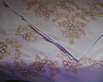 "Hand-Embroidered Tablecloth Vintage 57"" X 57"""