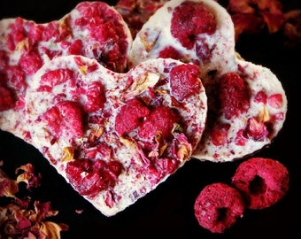 4 raw valentine chocolates with coconut, raspberries and rose petals NO NUTS