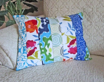 Patchwork Accent Pillow Cover, Cottage Chic Decor, Shabby Chic Pillow Cover, Bright Cushion Cover, Nursery Decor - 12 x 16