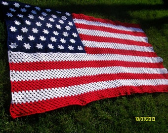American Flag Crocheted Afghan - Made to order