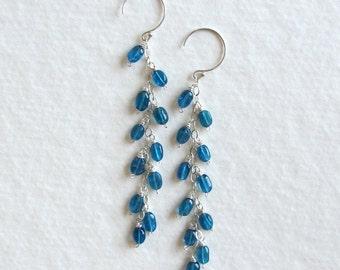 Teal Blue Gemstone Long Dangle Earrings - Apatite Extra Long - Silver Jewelry - Long Cascade Earrings - Long Layer Earrings 11