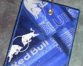 Luggage Tag from Recycled Red Bull Blueberry Box Packaging