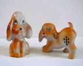 Hound Dogs Ceramic Set of Two Hand-painted Hound Dogs Japan Display Ceramic