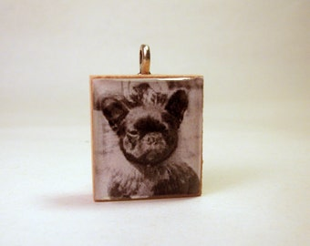 FRENCH BULLDOG SCRABBLE Pendant / Frenchie Handmade Jewelry / Dog Lover Gift