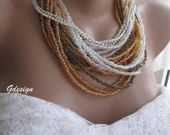 Wedding ,Bridal  Handmade  seed bead necklace, rhinestone chain, chunky layered,