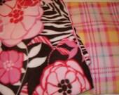 FLEECE - remnants - PINK - Two patterns - Flowered pink fleece -  Plaid pink fleece