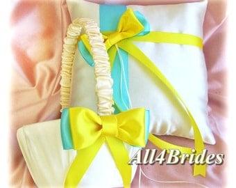 Aqua Blue and Yellow Wedding Flower Girl Basket and Ring Bearer Pillow,  ring cushion and flower girl basket set.