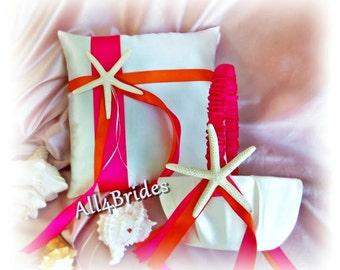 Beach weddings ring bearer pillow and flower girl basket, hot pink and orange, starfish wedding pillow and basket