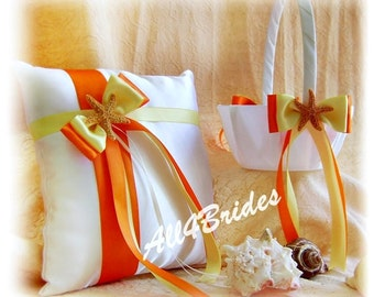 Starfish Beach wedding ring pillow and basket, orange and yellow starfish ring bearer pillow and flower girl basket