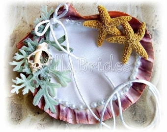 Beach Wedding Seashell Ring Holder, wedding ring seashell cushion.