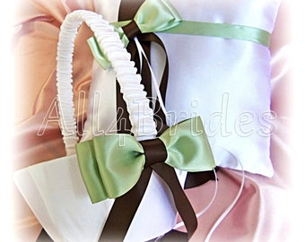 Green and Brown Weddings Ring Pillow Flower Girl Baskets Sage Green Chocolate Brown Wedding Accessories - Wedding Ceremony Decor