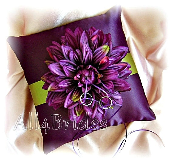 Eggplant Color Schemes: Deep Purple And Green Wedding Ring Bearer Pillow By All4Brides