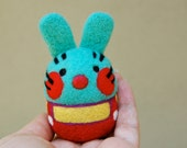 Vintage Inspired Turquoise Felted Wool Bunny Toy Made to Order
