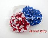 Headband & 2 Ruffle Fabric Headband Matches Patriotic Sassy Pants Ruffled Bloomers