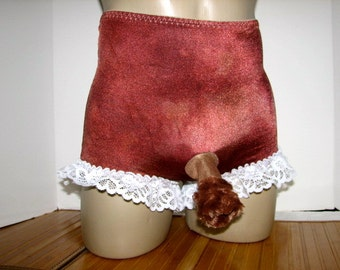 One Pair Only Hand Dyed Chocolate Shiny Sparkle Control Panty for Alternate Lifestyle with Fuzzy Comfort Sleeve and Open Bum Size Small