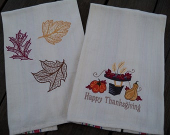 Set Fall Thanksgiving Machine Embroidered Tea Towel Kitchen Towel Handmade