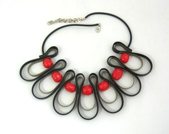 red and black bib necklace, rubber jewelry