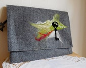 Tablet cover...iPad Case...Notebook Case...Elegant Clutch...Hand Felted Design